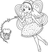 Clip Art of tooth fairy coloring page k21085017 Search Clipart