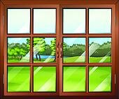 Clip Art of A closed wooden window with glass k18774417 Search