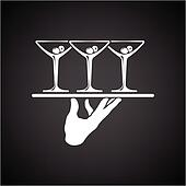 Clipart of waiter serving drinks k10666393 - Search Clip ...