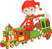 clip art of christmas train k7779858 search clipart illustration rh fotosearch com christmas train clipart black and white Trains at Christmas