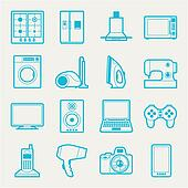 Clipart Of Set Home Appliances And Electronics Icons K15393823