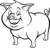 Clip Art of Black and white cartoon pig k15778067 - Search ...