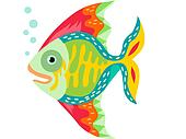 Stock illustration of tropical fish swimming in water for Happy fish swimming