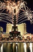 Fireworks celebration at the Paris Hotel and Casino in Las Vegas ...