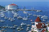 Casino Building and yachts anchored in Avalon Bay on Catalina Island ...