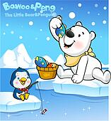 Stock illustration of fishing rod recreation water pole for Snow bear ice fishing