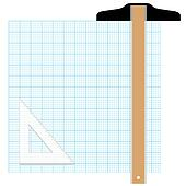 stock illustration of graph paper drafting tools draw k0887865