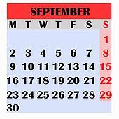 Calendario Dibujo Septiembre.Calendario Diseno Mes Septiembre 2019 Dibujo