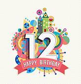 Wonderbaarlijk Gelukkige verjaardag, 12, jaar, begroetende kaart, poster, kleur SM-15