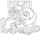 Clip Art Krank Junge Mit A Knochenbrüche K22027607 Suche