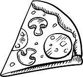 Black and white slice of pepperoni pizza Clip Art ...