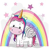 Cute Cartoon Unicorn and rainbow Clipart