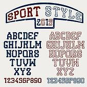 Grunge serif font in the retro style of sport Clipart