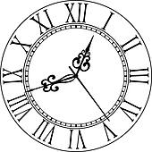 Old clock face with Roman numerals Clipart | k20344323 ...