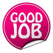 drawing of good job round pink sticker on white background k17855093