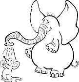 Clipart Maus Und Elefant Für Ausmalbilder K5954733 Suche