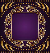 Clip Art Of Gold Ornament On A Purple Background K6259019