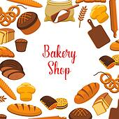 clipart of bakery shop vector poster of baked bread k48314505