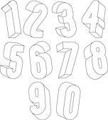 Clip Art 3d Schwarz Weiß Zahlen Gemacht Mit Lines K22354799