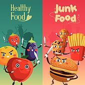 Healthy Food Versus Unhealthy Food Clipart