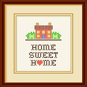 Clip Art Of Embroidery Home Sweet Home Frame K19824657 Search
