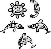 bf8c5fc77af00 Native shoshone tribal drawings. Fish, sun, moon Clipart | k19944623 ...
