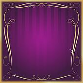 Clip Art Of Purple And Gold Blank Square Striped Ornate Vector Background K7809659