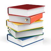 Livres Pile De Livre Couvertures Colore Manuel Bookmarked Banque D Illustrations