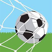 Ball in goal - football Clipart