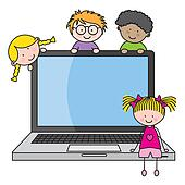 Children with a computer Clipart | k10217393 | Fotosearch
