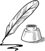 Quill pen and inkwell sketch Clip Art | k10380679 | Fotosearch
