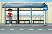 A Boy At The Bus Stop Clipart K14549391
