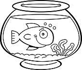 Cartoon Fish In A Fish Bowl Clipart K12326625 Fotosearch