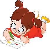 clip art of little girl drawing k14409847 search clipart