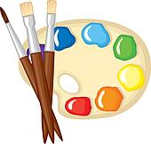 Pinsel, und, palette, von, farben Clip Art   k14197447 ...