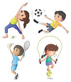 Two young girls exercising and two young boys playing Clipart ...