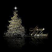 Clipart goldenes weihnachtsbaum gemacht von gold b nder und sternen auf schwarz - Schwarzer weihnachtsbaum ...