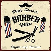 Clip Art Of Vintage Styled Barber Shop K14997987 Search Clipart