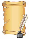 Parchment Scroll and Quill Pen Clip Art | k16315539 ...