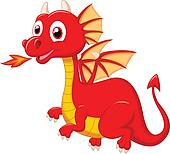 Cute red dragon cartoon Clipart | k16816511 | Fotosearch