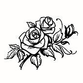Roses. Black outline drawing on white background Clipart ...